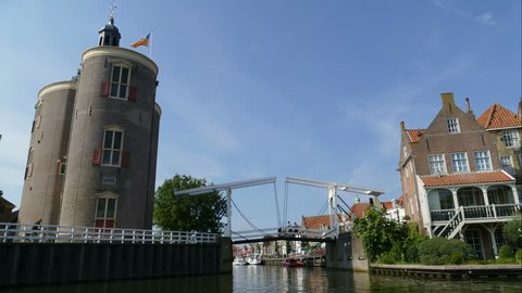 Bridge open and close at the port of Enkhuizen, time lapse
