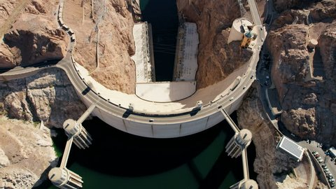 Aerial vertical view Hoover dam in Nevada Arizona USA producing environmental clean hydroelectricity power from Lake Mead reservoir RED WEAPON