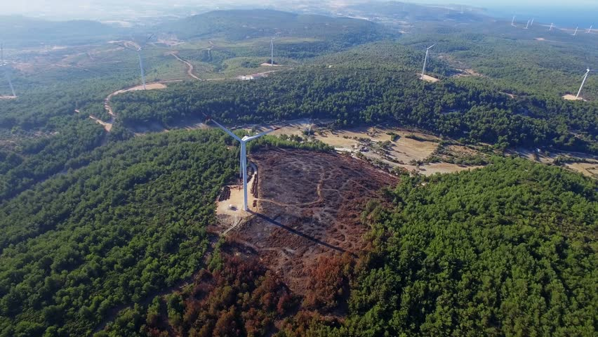 Izmir Urla Turkey Agust 2017 :Windmills