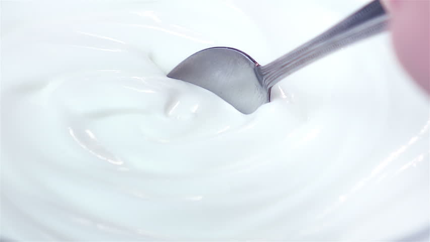 High quality video of scooping yogurt in real 1080p slow motion 250fps