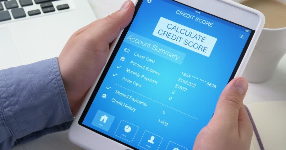Checking poor credit score on digital tablet