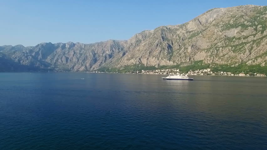 Aerial view the Bay of Kotor with a ship - HD stock video clip