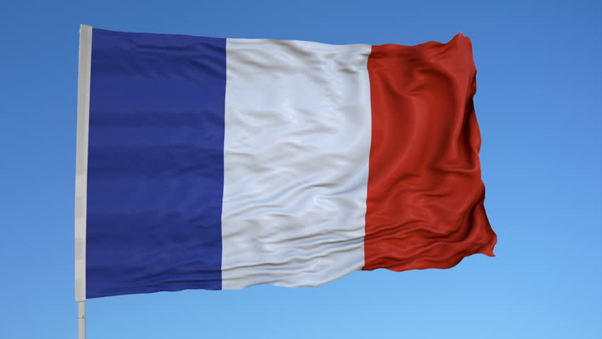 Looping flag for Mayotte on flag pole, blowing beautifully in the wind. Includes alpha matte. | Shutterstock HD Video #30504511
