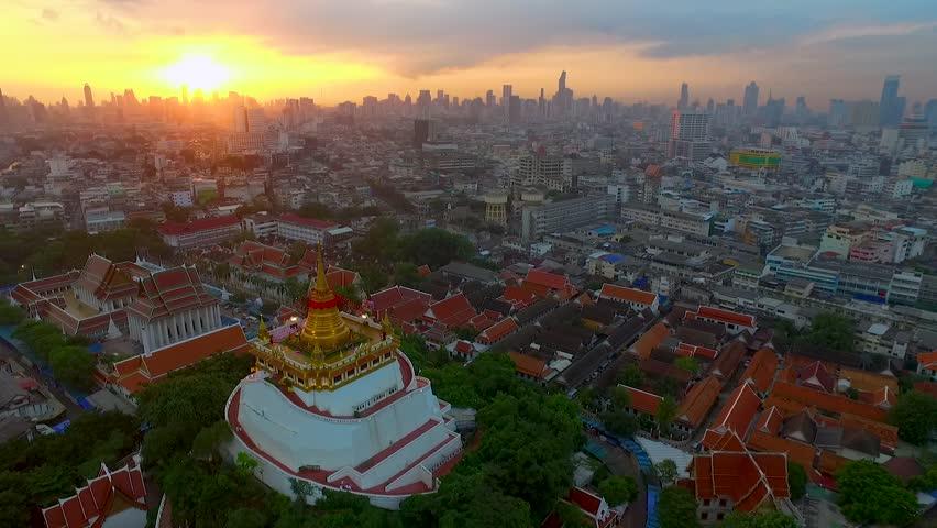 Aerial View at Golden mountain (phu khao thong), an ancient pagoda at Wat Saket temple in Bangkok, Thailand
