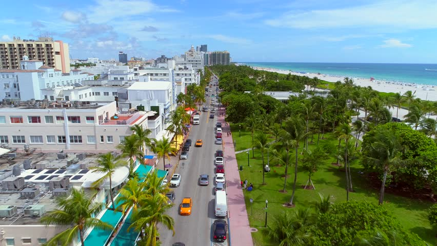 MIAMI BEACH, FL, USA - SEPTEMBER 5, 2017: Aerial video of Miami Beach Ocean Drive and Lummus Park