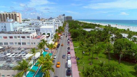 MIAMI BEACH, FL, USA - SEPTEMBER 5, 2017: Aerial video of Miami Beach Ocean Drive and Lummus Park