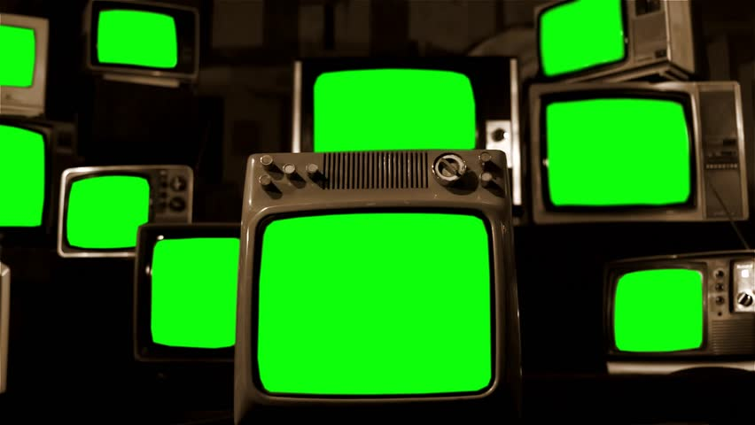 "Vintage Tvs with Green Screens. Sepia Tone. Aesthetics of the 80s. Ready to Replace Green Screen with Any Footage or Picture you Want.  You Can Do it With ""Keying"" (Chroma Key) Effect."