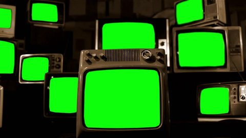 "Vintage Tvs with Green Screens. Sepia Tone. You can replace green screen with the footage or picture you want. You can do it with ""Keying"" (Chroma Key) effect in AE (check out tutorials on YouTube)."