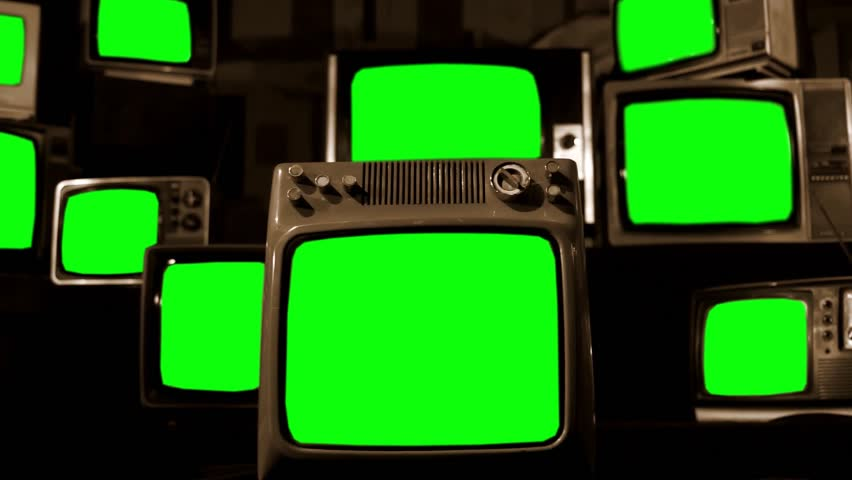 "Vintage TVs Green Screen. Sepia Tone. Zoom In. You can Replace Green Screen with the Footage or Picture you Want with ""Keying"" Effect (Check out Tutorials on YouTube).  