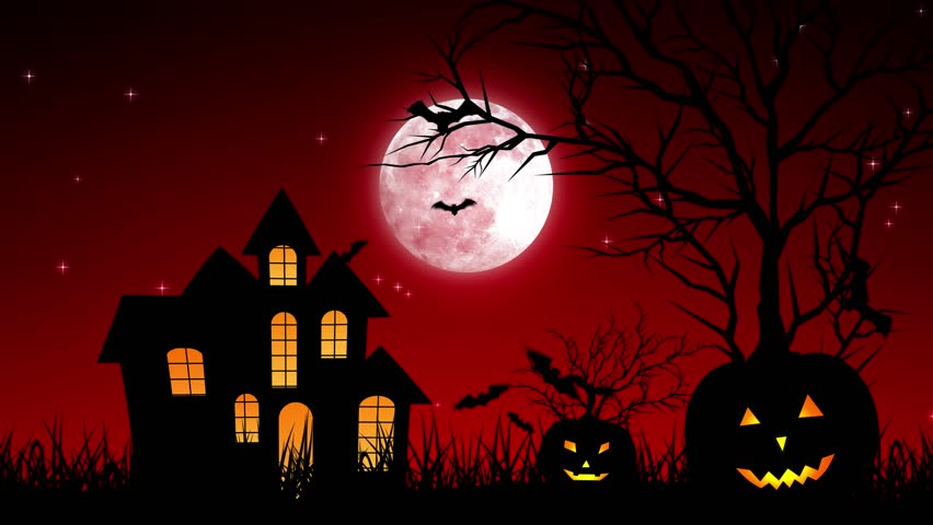 Halloween background animation with the concept of Spooky Pumpkins, Moon and Bats and Haunted Castle. | Shutterstock HD Video #30577711