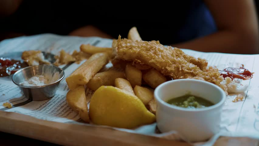 Typical British Pub Food - the famous Fish and Chips