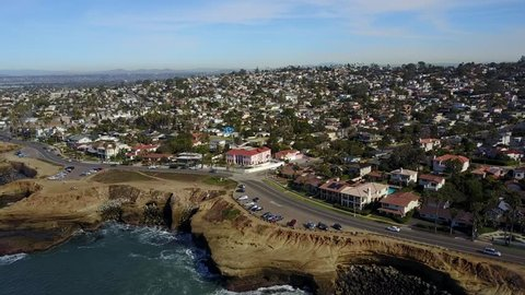 San Diego - Sunset Cliffs - Drone Video Arial Video of Natural cliffs overlooking the Pacific Ocean offer views of the coast & the occasional cliff diver.