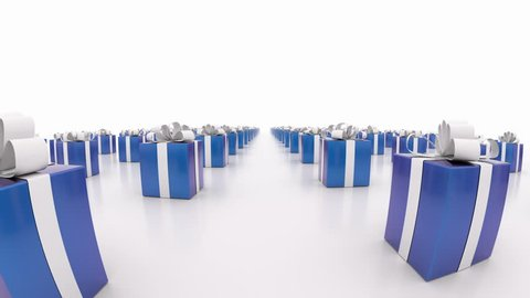 Blue gift boxes with white ribbons. (loop ready) Animation of moving towards camera blue gift boxes.