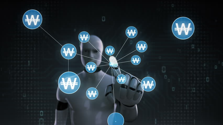 Robot, cyborg touching Won symbol, Numerous dots gather to create a Yen currency sign, dots makes global world map, internet of things. financial technology 1. | Shutterstock HD Video #30618331