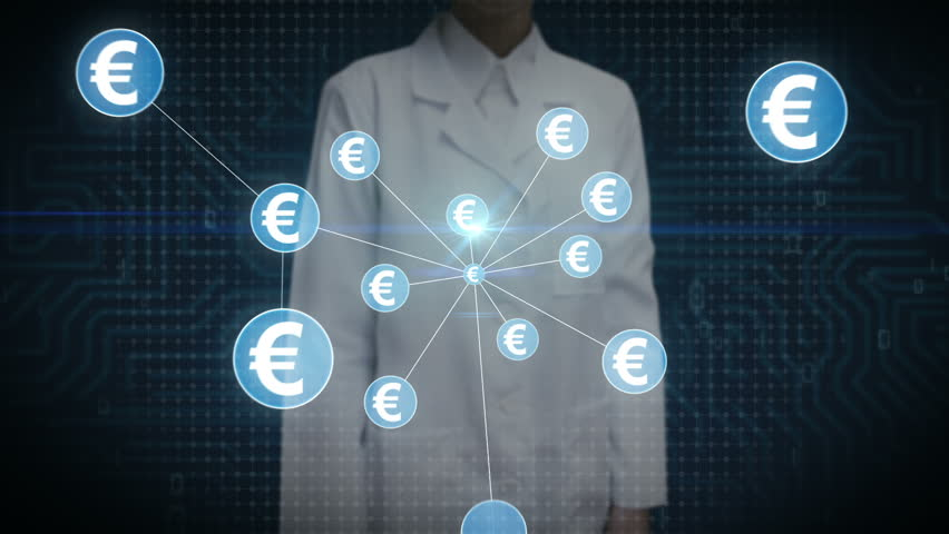 Female scientist, engineer touching Euro currency symbol, Numerous dots gather to create a Euro currency sign, dots makes global world map, internet of things. financial technology 1. | Shutterstock HD Video #30618361
