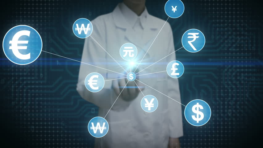 Female scientist, engineer touching World currency symbol, Numerous dots gather to create a currency sign, dots makes global world map, internet of things. financial technology 1. | Shutterstock HD Video #30618421