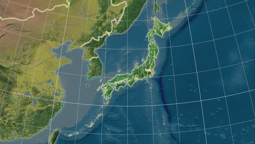 The Japan Area Map In The Azimuthal Equidistant Projection Layers - Japan map projection