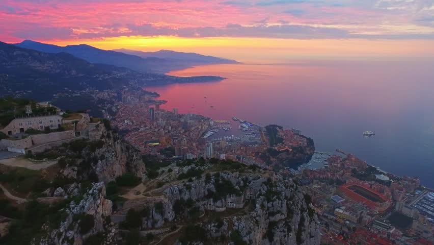 Monaco Aerial Drone Fly Over Rocks, Mountain   Shutterstock HD Video #30674281