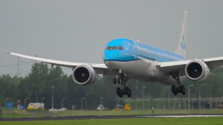 AMSTERDAM, THE NETHERLANDS - JULY 27, 2017: KLM Dreamliner PH-BHC landing on runway 18R Polderbaan. Shiphol Airport, Amsterdam, Holland