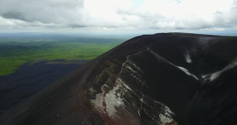People doing volcano boarding activity in Nicaragua aerial above view