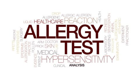 Allergy test animated word cloud, text design animation. Kinetic typography.