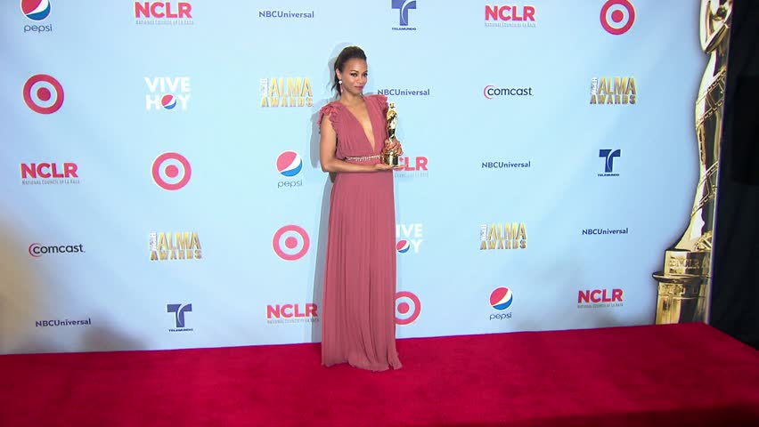 Pasadena, CA - SEPTEMBER 16, 2012: Zoe Saldana, walks the red carpet at the ALMA Awards 2012 held at the Pasadena Civic Auditorium