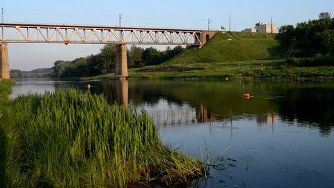 Railway bridge across the river Neman in city Grodno, Belarus.