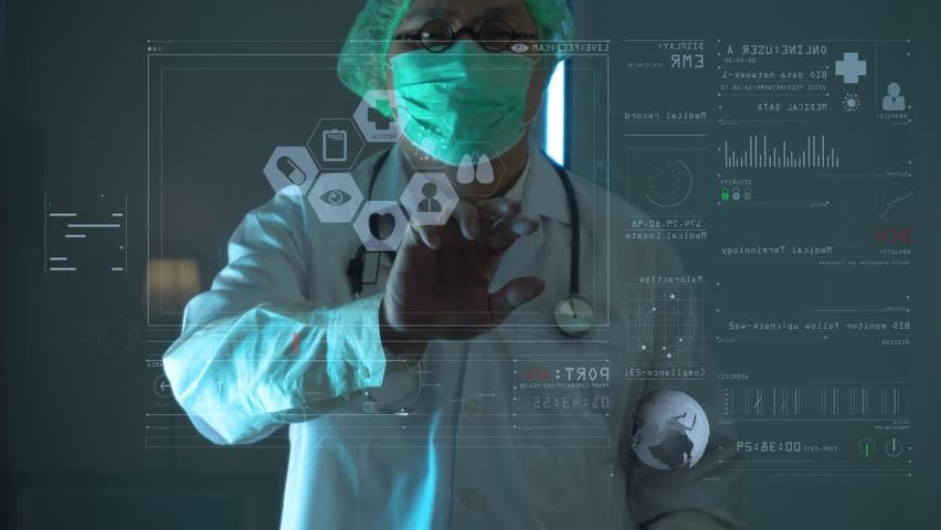 Smart Medical Doctor Working With Stethoscope And Futuristic Computer In  Modern Lab