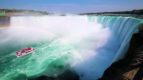 Cinemagraph Seamless Loop of Niagara Falls Rainbow and Tour Boat