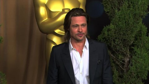 Beverly Hills, CA - FEBRUARY 06, 2012: Brad Pitt, walks the red carpet at the Academy Awards Luncheon 2012 held at the Beverly Hilton Hotel