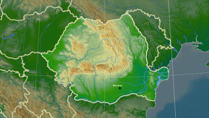 The Romania area map in the Azimuthal Equidistant projection. Layers of main cities, capital, administrative borders and graticule. Colored physical map