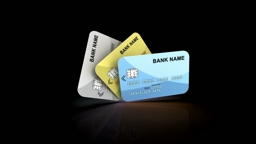 Splendid 3d rendering of credit cards of golden, blue and gray colors, which unfold like a fan, being taken using zoom in effect, in the black background | Shutterstock HD Video #30818746
