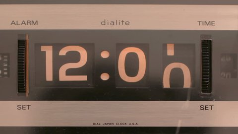 stop motion of an old style flip clock running through 12 hours