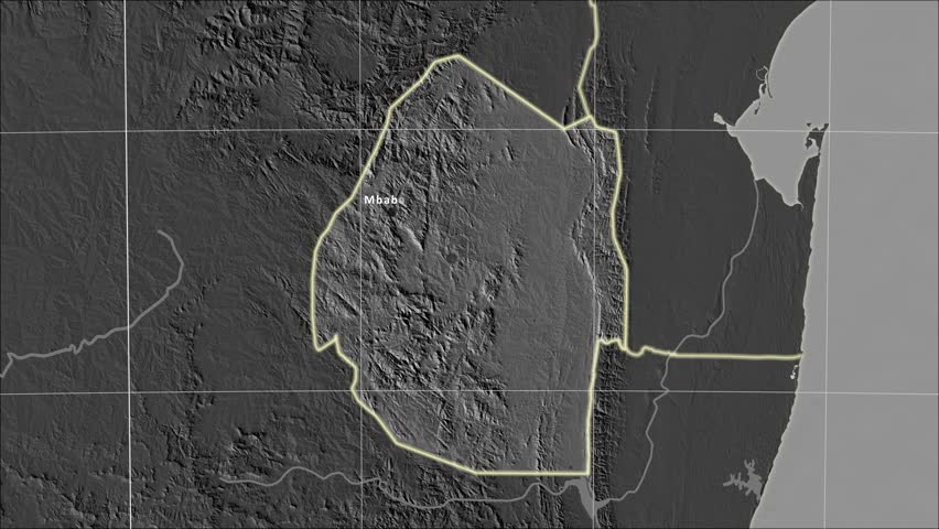 The Swaziland area map in the Azimuthal Equidistant projection. Layers of main cities, capital, administrative borders and graticule. Elevation & bathymetry - grayscale contrasted