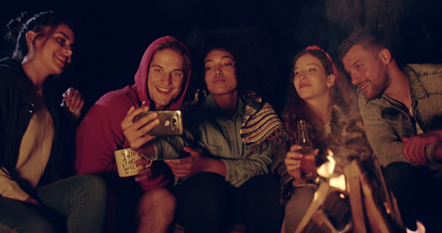 Attractive Multiracial Group Of Young Friends Camping In -8829