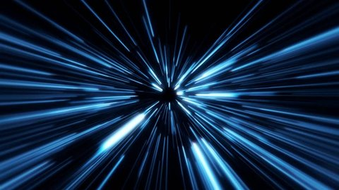 Flight inside a Blue StarsField Tunnel at The Speed of Light Loopable