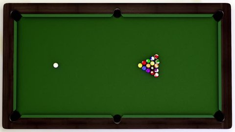 A 3d animation of a snooker pocketing all the balls.