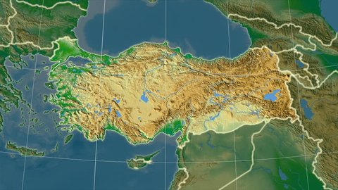The Turkey area map in the Azimuthal Equidistant projection. Layers of main cities, capital, administrative borders and graticule. Colored physical map