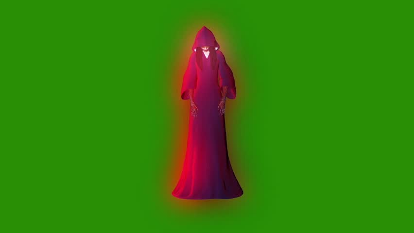 Ghost Phantom Entity Witch Attack Front Green Screen 3D Rendering Animation