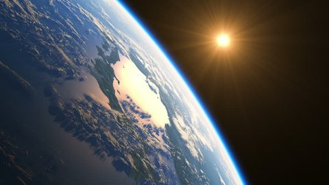 Realistic Sunrise Over The Earth. 4k. 3840x2160. 3d Animation. Ultra High Definition. (You Can Speed Up This Animation For Your Project).