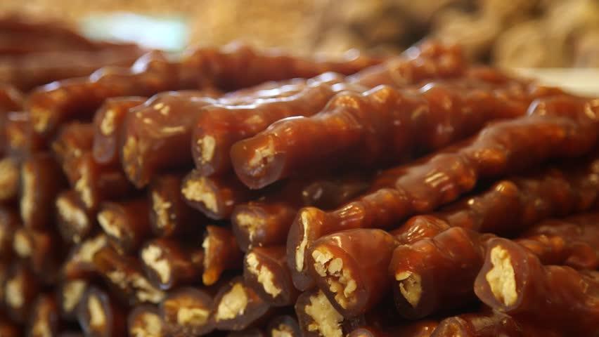 Turkish Walnut Delights. Walnut Delights. Delicious.  Man is ordering Turkish Delight