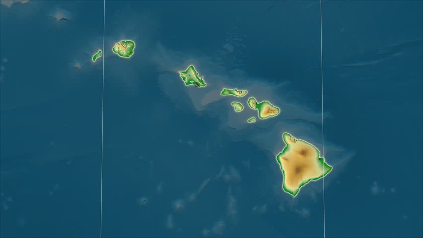 The United States Hawaii area map in the Azimuthal Equidistant projection. Layers of main cities, capital, administrative borders and graticule. Colored physical map