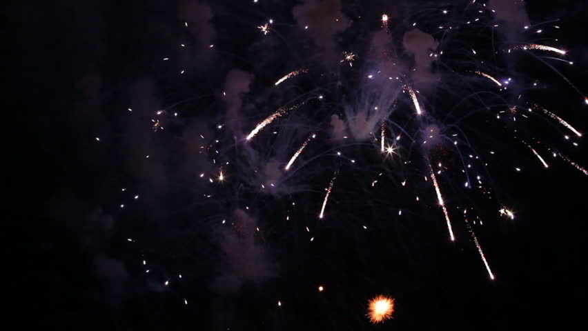 Fireworks dedicated to some event igniting the night sky. | Shutterstock HD Video #3095341