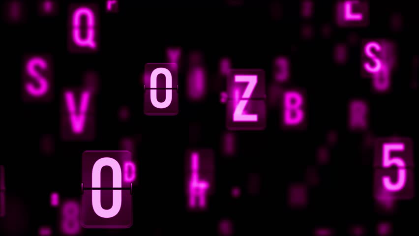 Abstract background. The camera flies past a large number of letters on a black background, some of them in defocus. Characters flying in 3D space. Loopable animation. 3d render.   Shutterstock HD Video #30961021
