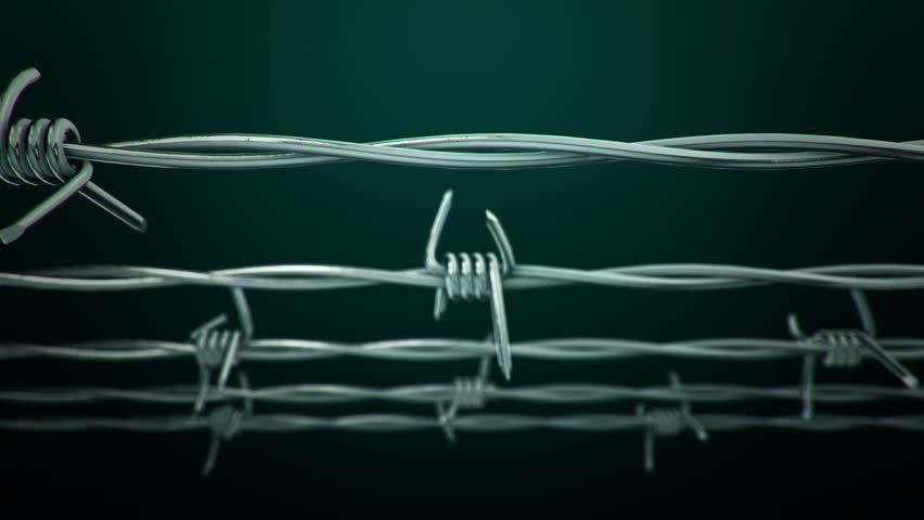 Animation of moving steel metallic barbed wire. Animation of seamless loop.