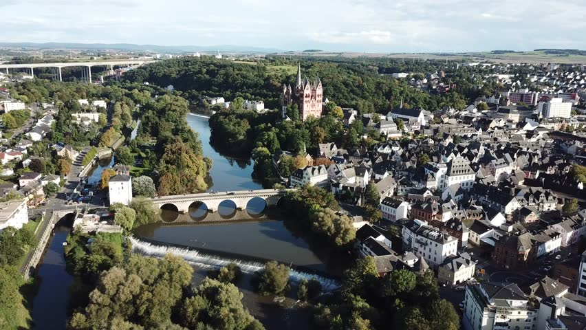 Aerial view over the old town of Limburg an der Lahn. Limburg-Weilburg district in Hesse, Germany