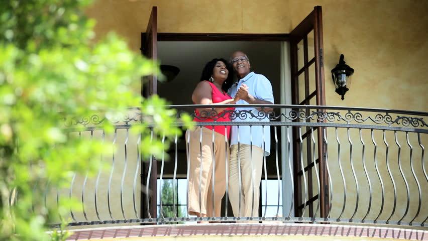 Senior African American dance couple have fun