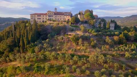 Aerial view of old beautiful villa in Toscana, Florence, Italy.