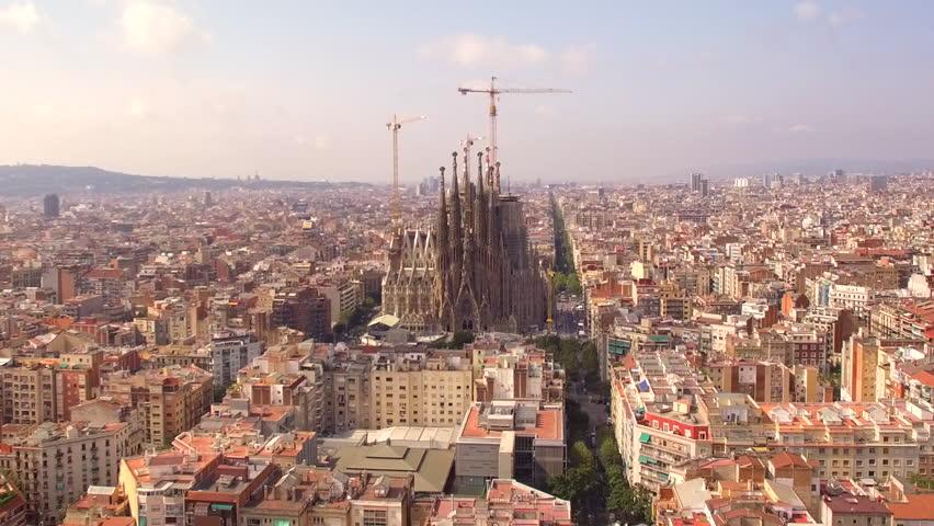 Barcelona, Spain - August 26, 2017: Aerial view of Barcelona city at Sagrada Familia neighbourhood in Barcelona, Spain.