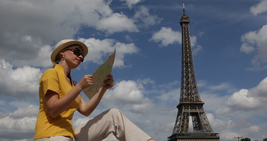 Young Girl Loosen In Paris Downtown Search Direction On City Map, Eiffel Tower View | Shutterstock HD Video #30989191